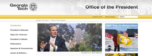 Georgia Tech Office of the President Web Site